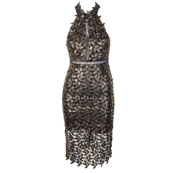 8f70a49ac5f Bardot Gold Black Mock-Neck Lace Illusion Dress